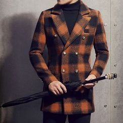 JORZ - Double-breasted Plaid Knit Coat