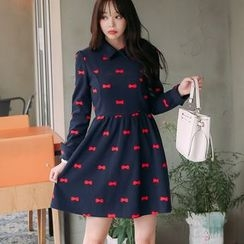 Angel Shine - Bow Embroidered Collared Long Sleeve Dress