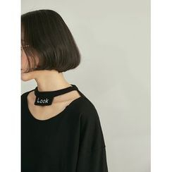 HORG - 印字掛脖長袖T恤