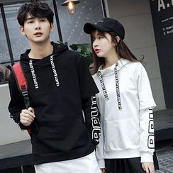 Azure - Couple Matching Letter Mock Two-piece Hoodie