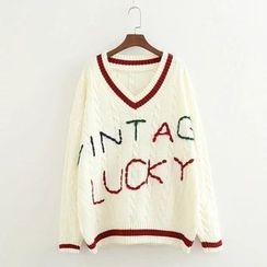 ninna nanna - Letter V-neck Knit Top