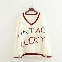 ninna nanna - 字母V領針織上衣