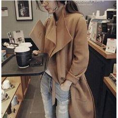 Mariposa - Notch Lapel Long Woolen Jacket