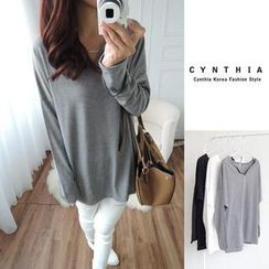 CYNTHIA - Long-Sleeve Open-Placket Top