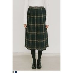 QQQQ - Accordion-Pleat Plaid Midi Skirt