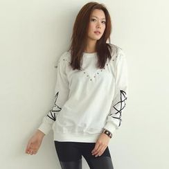 SO Central - Patterned Sleeve Studded Pullover