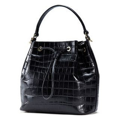 Emini House - Croc Grain Pattern Genuine Leather Bucket Bag