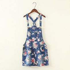 ninna nanna - Floral Denim Jumper Skirt