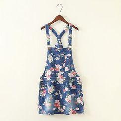 ninna nanna - Floral Denim Jumper Skirt