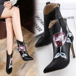 Anran - Floral Print High Heel Ankle Boots