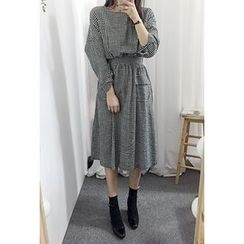 OZNARA - 3/4-Sleeve Gingham Long Dress