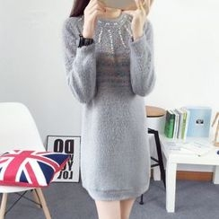 AiSun - Embellished Melange Knit Dress
