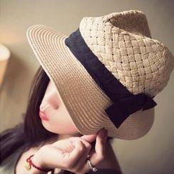 Clair Fashion - 編織緞帶蝴蝶結遮陽草帽