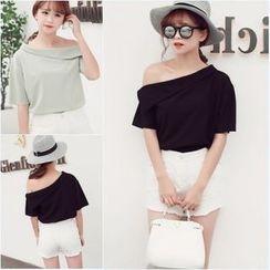 Whitney's Shop - Off-Shoulder Short-Sleeve T-Shirt