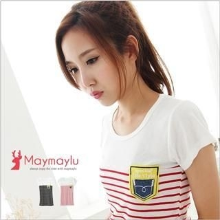 Maymaylu Dreams - Striped Pocket T-Shirt