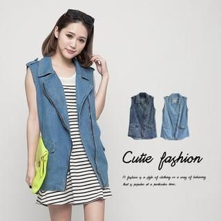 CUTIE FASHION - Lettering Denim Vest