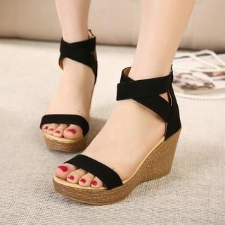 X Times - Cross Strap Wedge Sandals