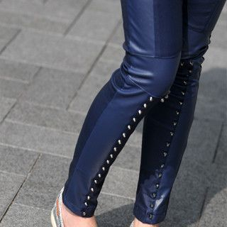 59 Seconds - Faux Leather Studded Skinny Pants