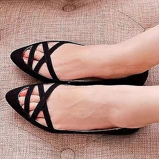 SouthBay Shoes - Cross Strap Pointy Flats