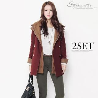 Stylementor - Wool-Blend Detachable Knitted Hood Double-Breasted Coat