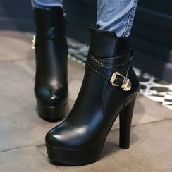 JY Shoes - Buckled Faux Leather Heeled Ankle Boots