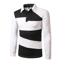 Fireon - Color Block Long-Sleeve Polo Shirt