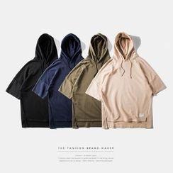 Newin - Plain Elbow-Sleeve Hoodie