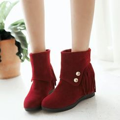 Pretty in Boots - Fringed Hidden Wedge Ankle Boots