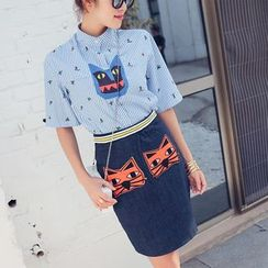Tang House - Set: Cat Applique Short-Sleeve Blouse + Denim Skirt