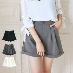 BAIMOMO - Loose-Fit Plain Cuffed Shorts