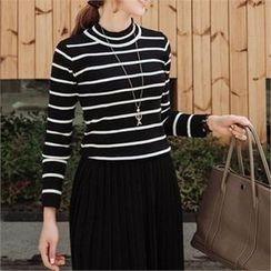 JOAMOM - Mock-Neck Striped Knit Top