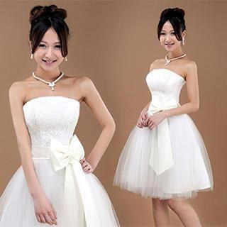 Bridal Workshop - Strapless Bow-Accent Mini Prom Dress