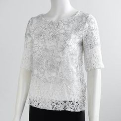 QZ Lady - Elbow-Sleeve Crochet Panel Top