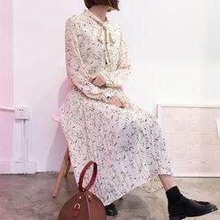YUKISHU - Floral Print Tie Neck Midi Chiffon Dress