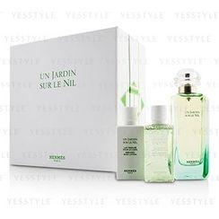 Hermès - Un Jardin Sur Le Nil Coffret: Eau De Toilette Spray 100ml/3.3oz + Body Lotion 40ml/1.35oz + Shower Gel 40ml/1.35oz