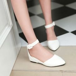 Charming Kicks - Ankle Strap Pointed Wedge-Heel Pumps