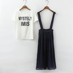 RainbowDay - Set: Short-Sleeve Lettering T-Shirt + Suspender Skirt