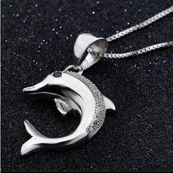 Zundiao - Rhinestone Dolphin Pendant