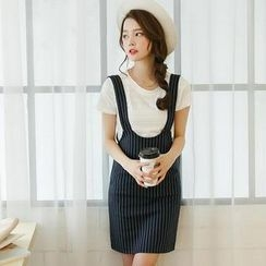 Mossivi - Pinstriped Jumper Skirt