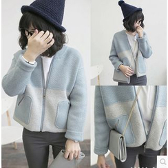 TIMI - Color Block Knit Jacket