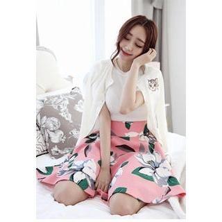 LOVEMARSH - Flower Print A-Line Skirt