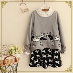 Fairyland - Set: Cat Appliqué Long-Sleeve Top + Cat Print A-Line Skirt