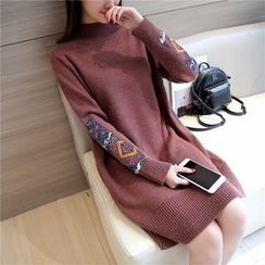 Autunno - Long-Sleeve Mock-Neck Long Knit Top