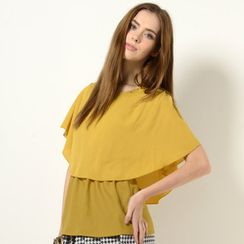 YesStyle Z - Cape Collar Gathered-Waist Top