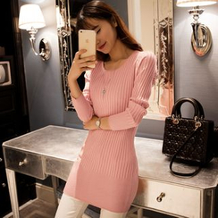 Cotton Candy - Turtleneck Ribbed Knit Top