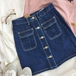 CaraMelody - Buttoned Denim Skirt