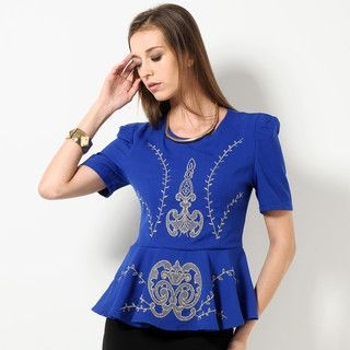 59 Seconds - Embroidered Peplum Top