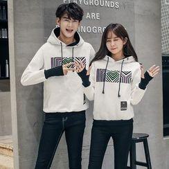 INUS - Couple Matching Print Fleece-Lined Hoodie