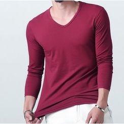SOLER - Fleece Lined V-Neck Long-Sleeve T-Shirt