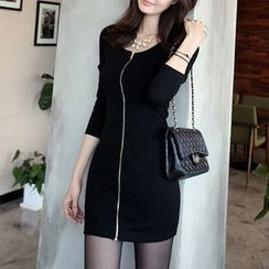PopCult - Zip Front Long-Sleeve Bodycon Dress